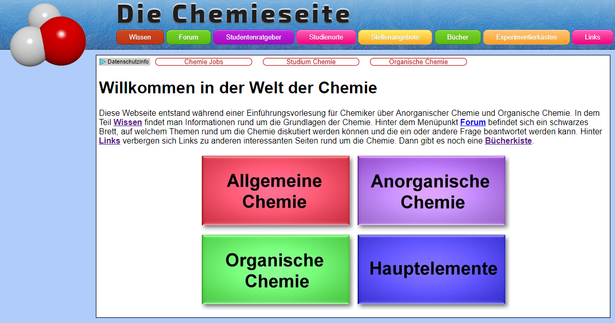 chemie im allgemeinen anorganik organik und hauptelemente. Black Bedroom Furniture Sets. Home Design Ideas